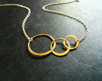 Linked Circles Necklace in Golden Brass and Gold Filled