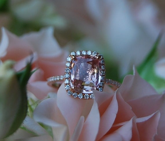 Peach Sapphire Ring Rose Gold Engagement Ring 2.88ct cushion 14k rose gold diamond ring. Engagement rings by Eidelprecious.