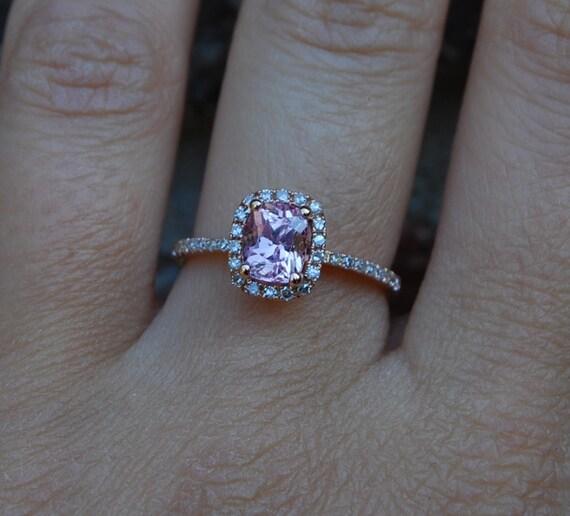 1.16ct Cushion peach champagne sapphire 14k rose gold diamond ring
