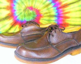 10 C mens vintage 70's brown leather split-toe oxfords shoes NOS
