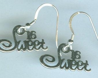 Sterling Silver SWEET 16  Earrings - Birthday