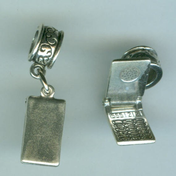 Name Brand Bracelets: Sterling Silver CELL PHONE Bead Charm For All Name Brand