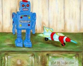 Boys Kids Robot Outer Space Rocket Art Prints Set of Two 10x10 Stretched Canvas