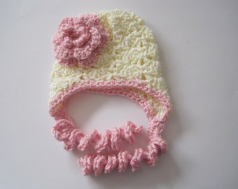 Baby Bonnet, Baby Homecoming Hat, Baby Photo Prop, Crochet Baby Hat, Baby Girl Hat, Pink Baby Hat, Infant Hat, Newborn Girl Hat, Flower Hat