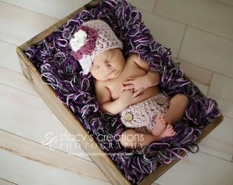 Girl Diaper Cover Set, Crochet Baby Hat, Baby Girl Newsboy Hat, Newborn Girl Hat, Infant Diaper Cover, Baby Beanie, Pink, Plum