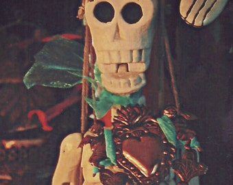 Skeleton with Heart Milagro, Day of the Dead Fall Celabration Still Life, Dia De Los Metros, Merle Pace