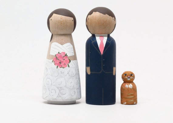 RESERVED FOR Diana - custom wedding cake toppers with child or pet by Goose Grease