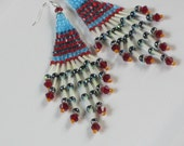 SeedBead  Earrings  - Chandelier style - Red.Blue and White