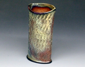 Raku Oval Vase with Gold and Copper Metallic Iridescent Colors