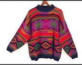 80's vintage southwest SLOUCH oversized sweater M L XL
