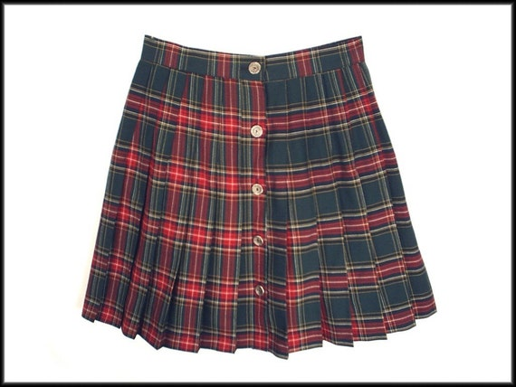 80 s vintage pleated plaid mini skirt by rockymountainretro