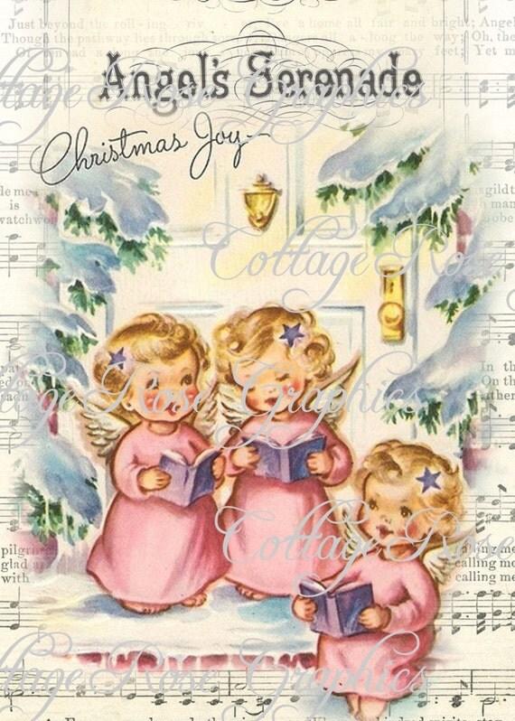 Preferenza ROSA Angeli di Natale vintage shabby cottage grande TR06