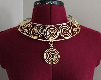 Vintage Necklace, Metal Necklace, Tribal Necklace, Funky Vintage Necklace