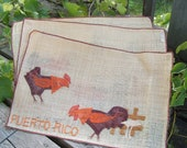 3 Vintage Puerto Rico Souvenir Jute Place mats with roosters Made in the Philippines