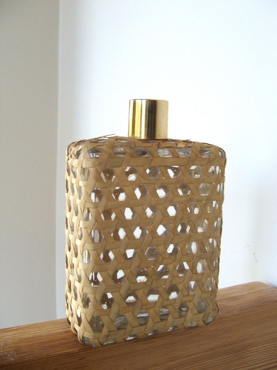 Reserved for Stella Vintage Wicker Glass Cologne Bottle