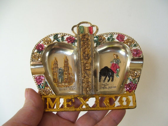 Vintage Tin Ashtray Souvenir of Mexico