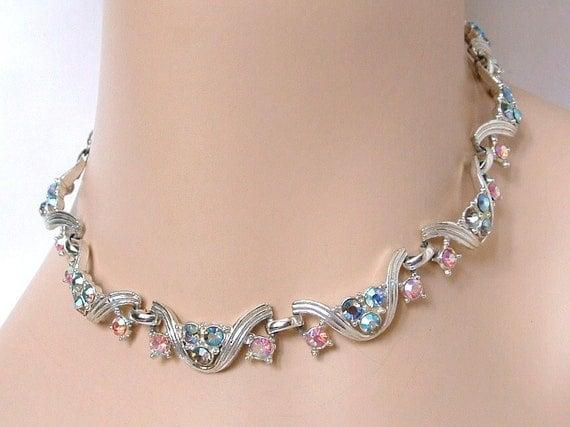 Vintage Pink & Blue Rhinestone Necklace