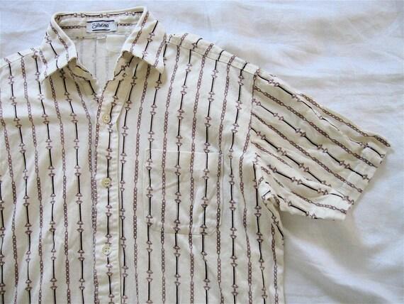 SALE 1960s Mens Cotton Summer Shirt. Horsebit Stripes.