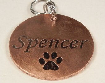 Custom Etched PAW PRINT Pet Name Tag Dog Id Unique Paw Print Pet Tag-Copper Or Brass Etched Dog Tag-Engraved Pet Tag-Handcrafted