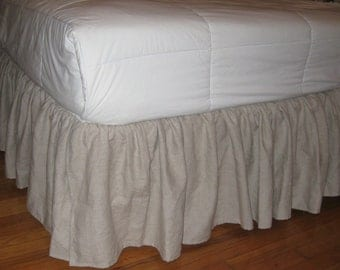 Queen size Ruffles Bedskirt in Linen