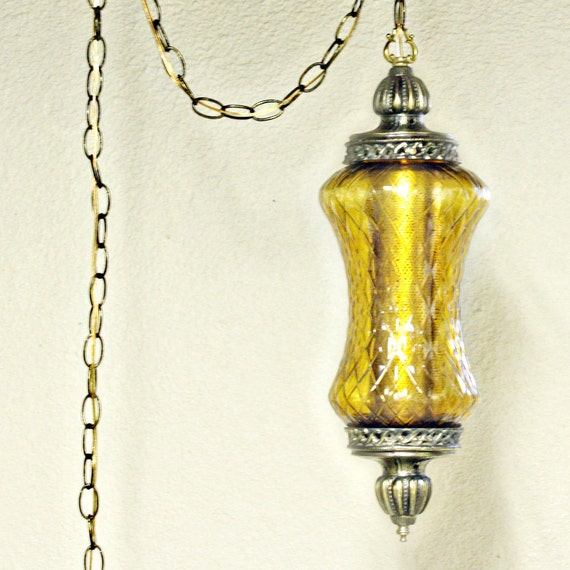 Vintage Hanging Light Hanging Lamp Swag Lamp Clear Globe