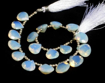 8 inches 18 Pieces 9 Matched Pair Opalite Faceted Heart Shaped Cut Stone Briolettes Size 10 - 12mm approx