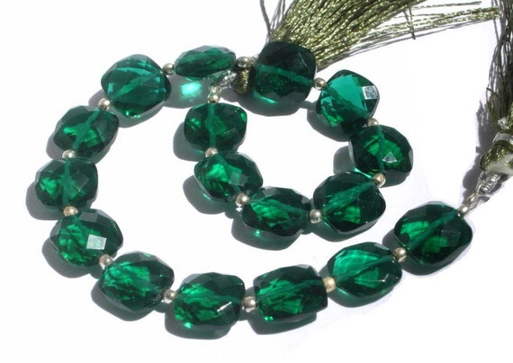 8 Inches - Outrageous AAA Chrome Green Quartz Faceted Cushion Briolettes Size 10x10mm approx