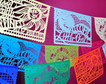 Baby Shower Decorations - BABY BLESSINGS custom color papel picado - set of 3 banners