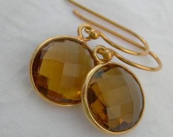 Whiskey Quartz Gold Vermeil Coin Earrings