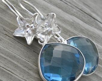 London Blue Quartz Lily Sterling Earrings