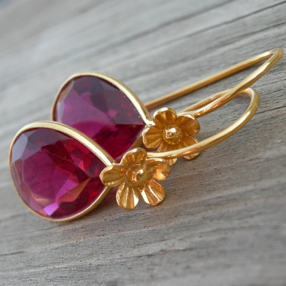 SHIPS IMMEDIATELY Rhodolite Red Quartz Gold Vermeil Earrings Holiday Jewelry