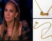 Sideways Love Necklace - Lower Case Script Love - Gold Vermeil with Swarovski Crystals - As seen on Jennifer Lopez