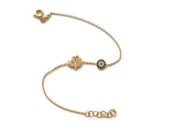 Evil Eye and Allah Symbol Gold Vermeil Bracelet with Pave Swarovski Crystals