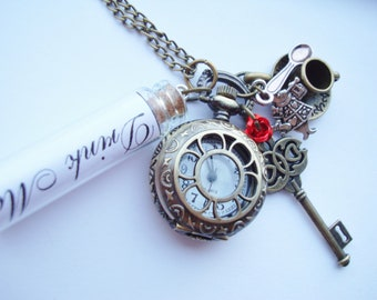 Alice in Wonderland Drink Me Charm Pocket Watch Necklace