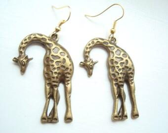 Giant Brass Giraffe Earrings with Gold Plated Earwire