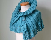 Knitted capelet with lace crochet border aqua turquoise blue H774