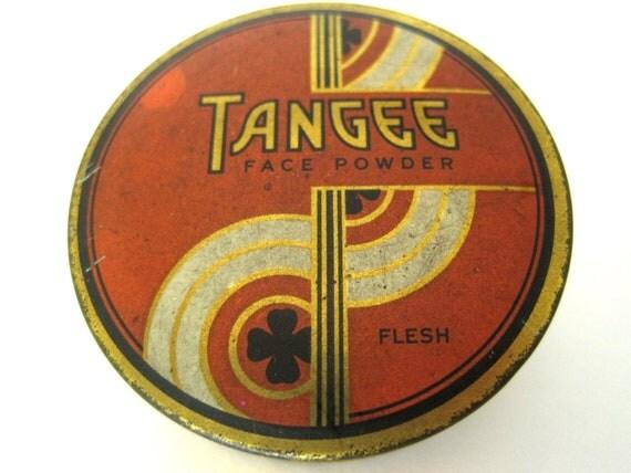 vintage 1930s Tangee face powder tin. FREE U.S. SHIPPING