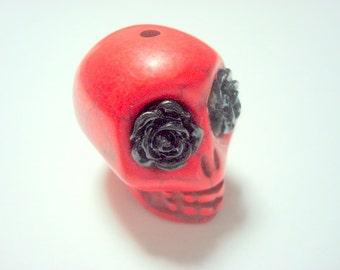 Gigantic Red Howlite Skull Bead or Pendant  with Black Roses in Eyes