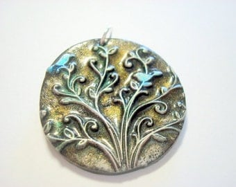Bluebirds Black ,Silver And Gold Tree of Life Handmade Polymer Clay Pendant