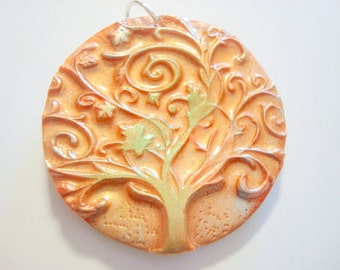 Twirly Tree of Life Gold, Green, and Silver Handmade Polymer Clay Pendant