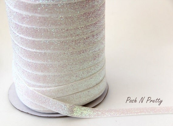 5/8 Glitter Stretch Velvet Elastic 5 YARDS - NO FLAKE - Sparkle White
