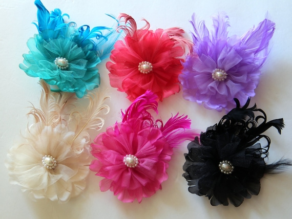 12 Pcs Victorian Pearl flower appliques with feathers - 4 inches- PICK COLORS