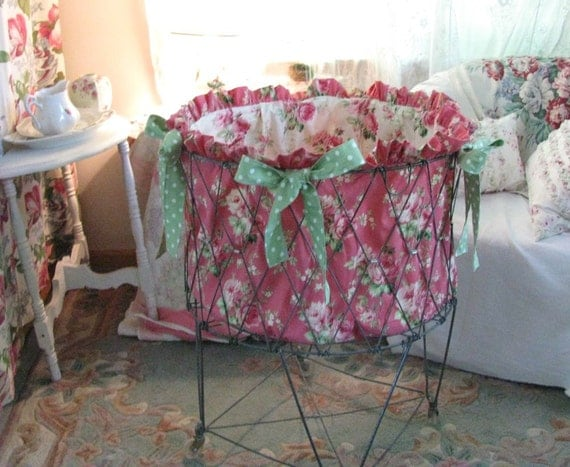 Treasury Item - French Laundry Cart Basket Liner Pink Barefoot Roses - Shabby Prairie Cottage Chic
