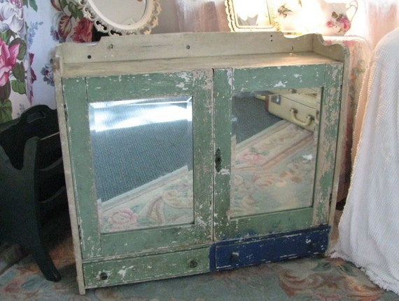 RESERVED for Carol Carr - Vintage Wood Medicine Cabinet - Beveled Mirrors Doors Drawers Distressed Chippy Shabby Cottage