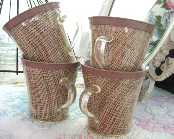 Vintage Insulated Thermoware Raffia Burlap Mugs - Mocha Latte - Shabby 1950s Cottage - Set of 4 Melmac