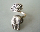 Silver elephant ring with a leaf, last one