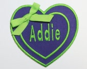 Double Heart Monogram Embroidered Applique -100342