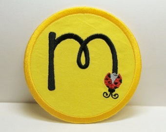 Ladybug Font Embroidered Applique 4 Inch Circle-100100