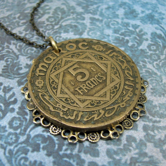 French Moroccan coin necklace, bronze with filigree
