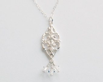 Filigree Silver White Topaz and Crystal Pendant